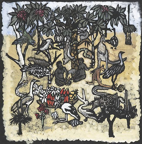An image of Adam and Eve in the garden of Eden by Margaret Preston