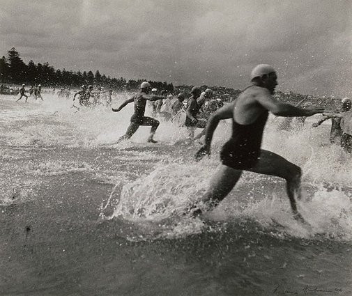 An image of Surf race start by Max Dupain