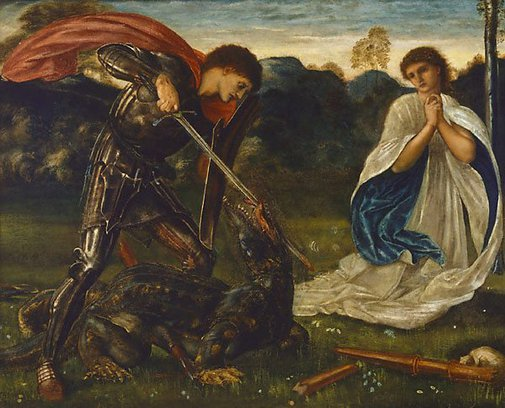 An image of The fight: St George kills the dragon VI by Sir Edward Burne-Jones