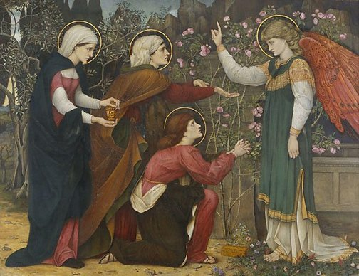 "An image of ""Why seek ye the living among the dead?"" St Luke 24 v5 by Roddam Spencer Stanhope"