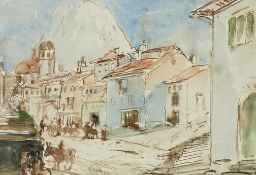 An image of Street scene in Sicily by Donald Shaw MacLaughlan