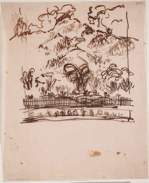 An image of (Landscape with fence) (Landscapes and natives from New Guinea) by William Dobell