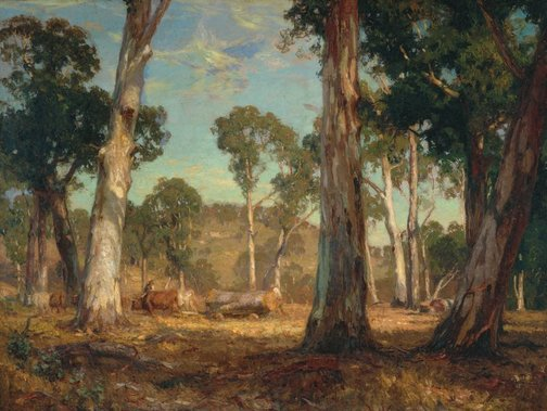 An image of Hauling timber by Hans Heysen