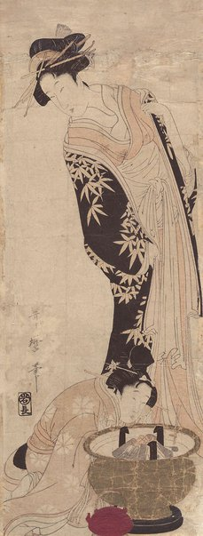 An image of (Courtesan with girl making fire) by Kitagawa UTAMARO