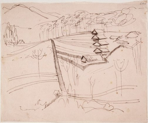 An image of (Houses on a hill with fences) (Landscapes and natives from New Guinea) by William Dobell