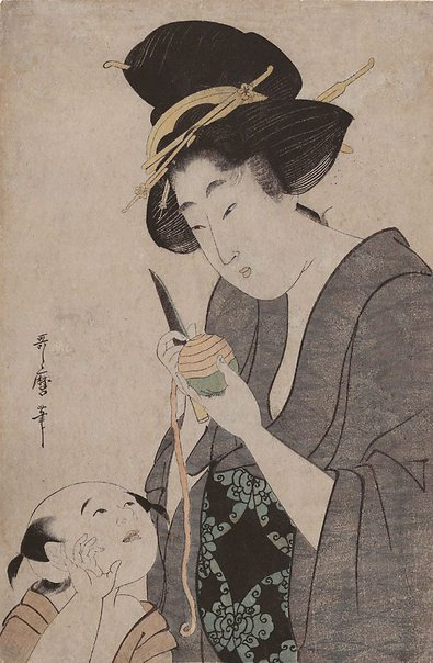 An image of (Mother with child peeling a persimmon) by Kitagawa UTAMARO