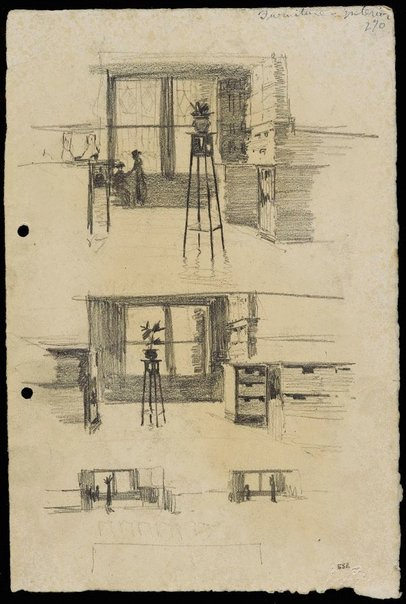 An image of recto: Shop interiors with furniture verso: Boots and shoes, people, furniture by Lloyd Rees
