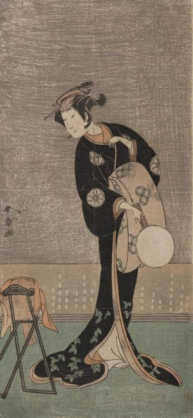 An image of (The actor Nakamura Noshio I in the role of a lady looking into the mirror) by Katsukawa SHUNSHÔ