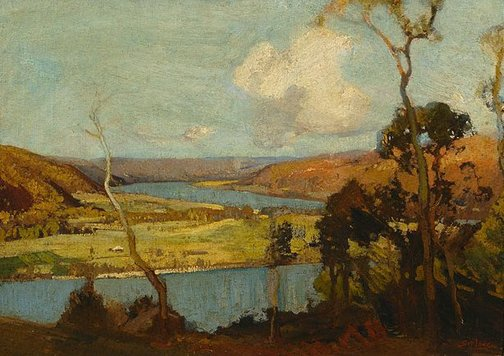 An image of Hawkesbury landscape by Sydney Long
