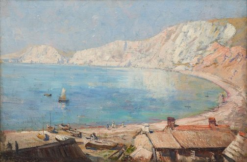 An image of A bay scene on the Southern Coast, England by Arthur Streeton