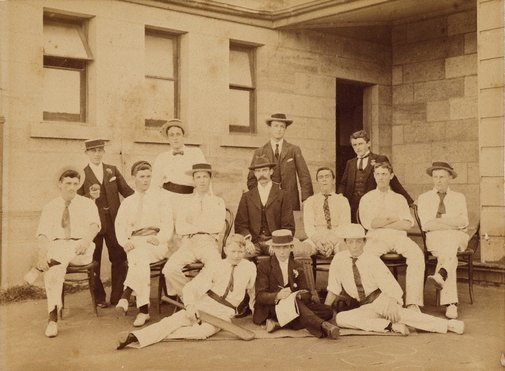 An image of Untitled (cricket team) by Henry King