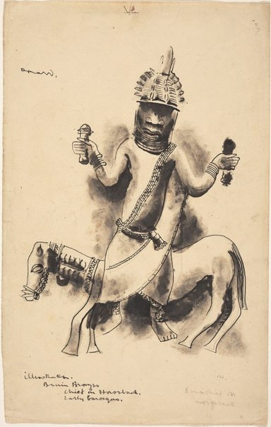 An image of Benin chief on horseback by Donald Friend