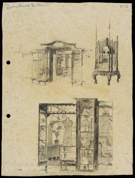 An image of recto: Shop furniture and interior verso: Man sketching, the harbour [top] and the same figure [centre, upside down] by Lloyd Rees