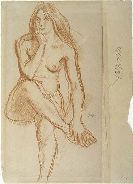 An image of Study of a seated nude by Augustus John OM