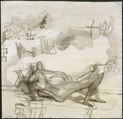 An image of Reclining figure: drawing for sculpture by Henry Spencer Moore