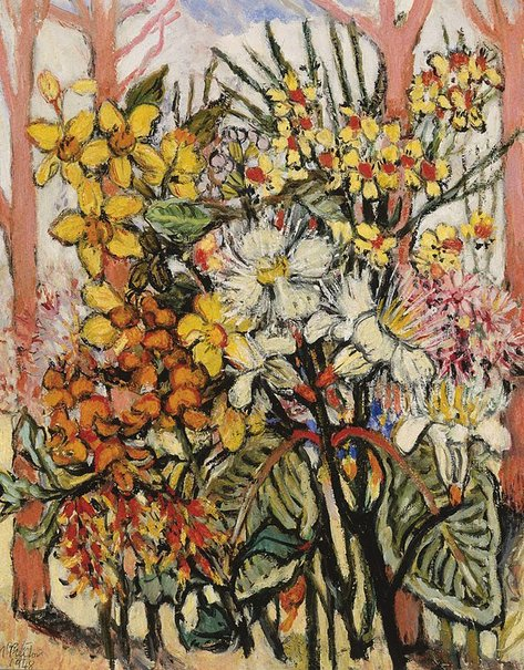 An image of Flowers and salmon gum trees of the Northern Territory by Margaret Preston