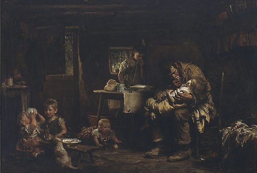 An image of The widower by Sir Luke Fildes