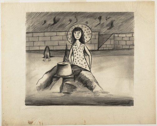 An image of (Woman and sandcastle) by Charles Blackman