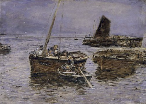 An image of Rainy day, Carradale Harbour by William McTaggart
