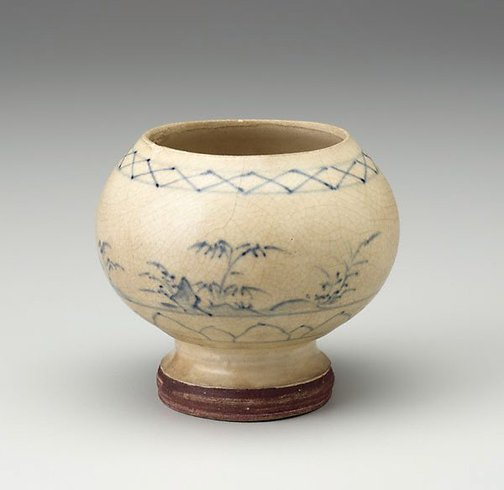 An image of Stem bowl with landscape scene by