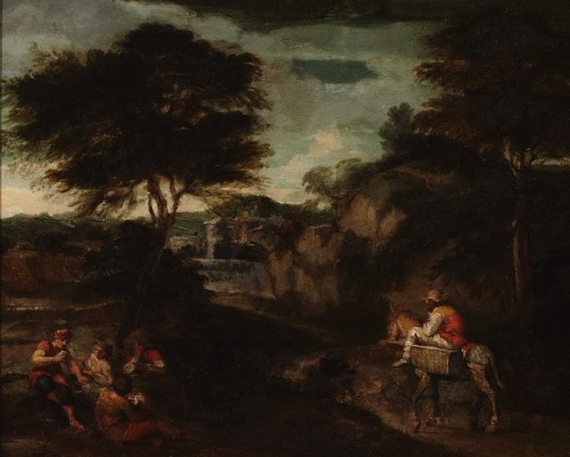 An image of Landscape with card players