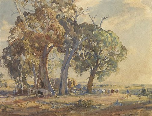 An image of Gum trees by Hans Heysen