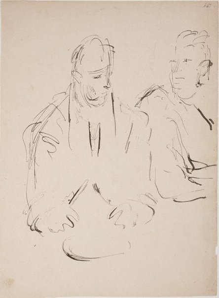 An image of (Two figures eating) (Late Sydney Period) by William Dobell