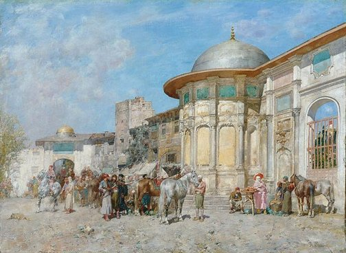 An image of Horse market, Syria by Alberto Pasini