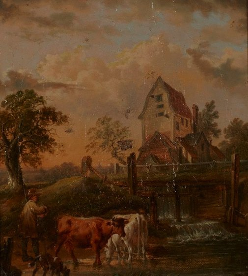 An image of Landscape with cattle and mill by Unknown