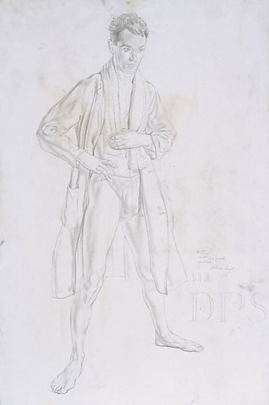 An image of Standing male nude with robe and towel