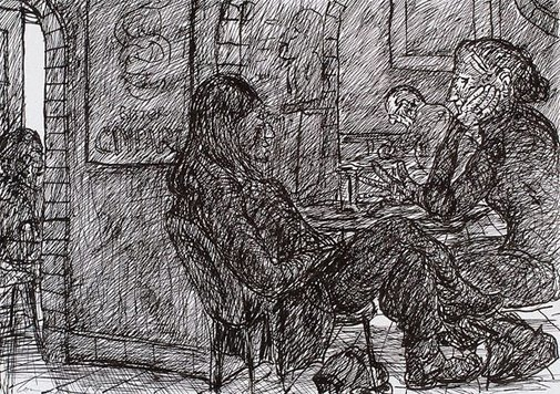 An image of Seated figures, Bill and Toni's, Stanley Street, Sydney by Kevin Connor