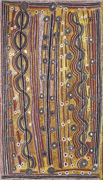 An image of Yanjirlpirri Jukurrpa (Star Dreaming) by Paddy Japaljarri Sims