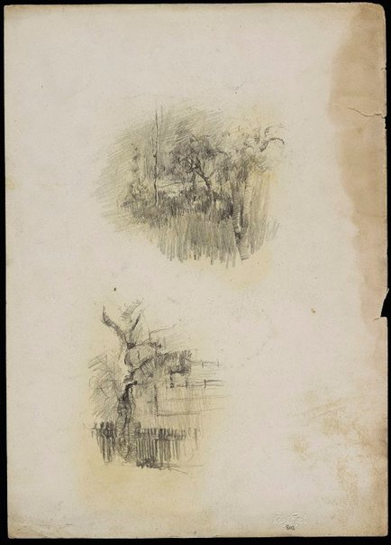 An image of recto: Garden sketch [top] and Tree with paling fence [bottom] verso: Dressing table [upside down] by Lloyd Rees