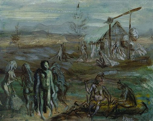 An image of Village scene, Mount Hagen by William Dobell