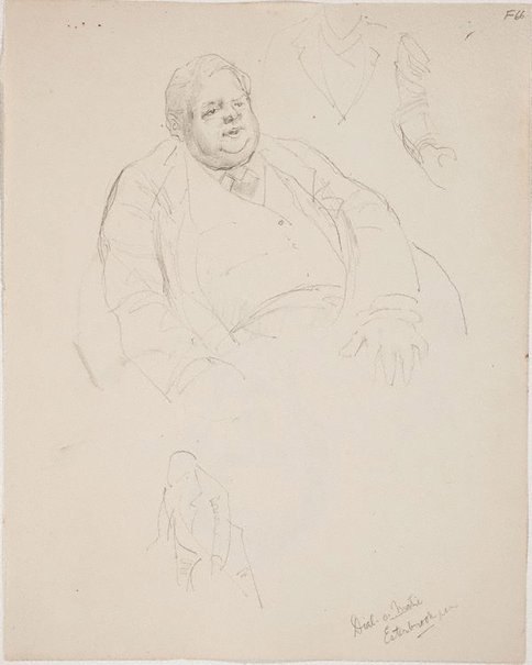 An image of (Portrait study of a fat man) (Late Sydney Period) by William Dobell