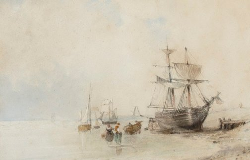 An image of On the Beach by Richard Parkes Bonington