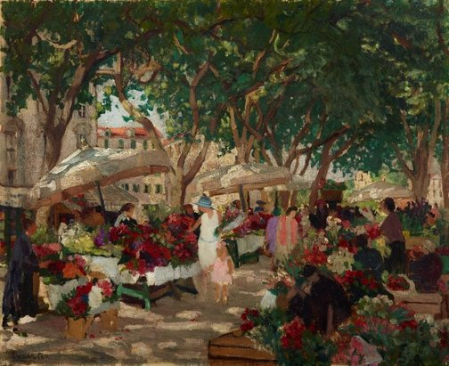 An image of Flower market, Nice by Ethel Carrick