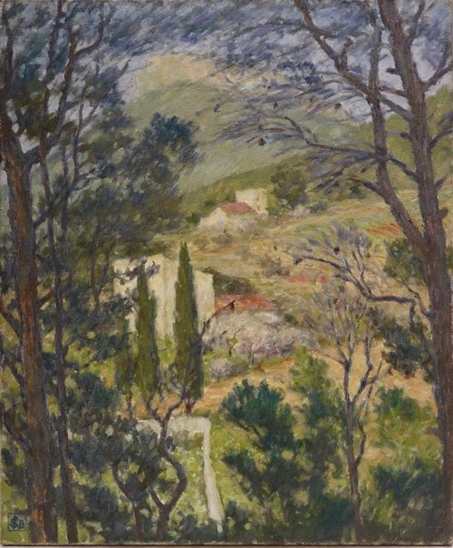 An image of The cypresses (Cassis) by Rupert Bunny