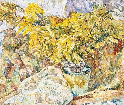 An image of Drapery and wattle by Grace Cossington Smith