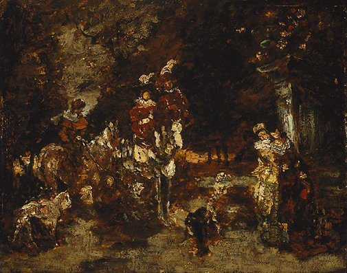 An image of Wood scene with riders by Adolphe Monticelli