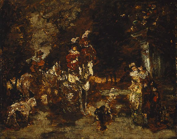 An image of Wood scene with riders