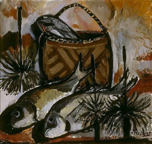 An image of Fish and blackboys by Margaret Preston