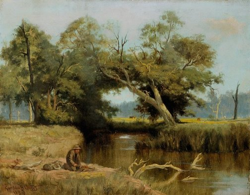 An image of Landscape with swagman by Gordon Coutts