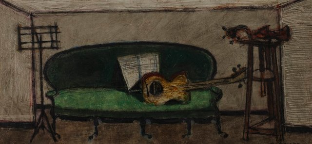 An image of Sofa and guitar