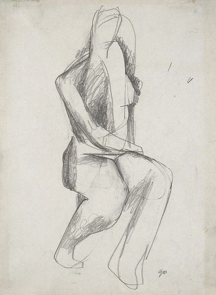 An image of Seated female nude by Godfrey Miller