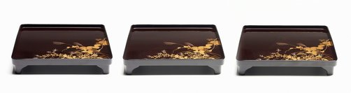 An image of Set of three footed lacquer tray with décor of autumn grasses and flowers by