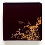 Alternate image of Set of three footed lacquer tray with décor of autumn grasses and flowers by