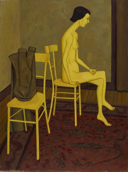 An image of Nude with two chairs by John Brack