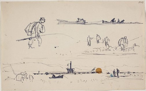 An image of (Man with sack and fishing rod, boats and figures) (Late Sydney Period) by William Dobell