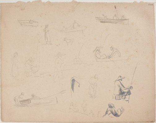 An image of (Studies of figures with rods and boats) (Late Sydney Period) by William Dobell